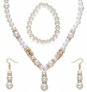 Kriaa Drop Style Pearl Necklace Set