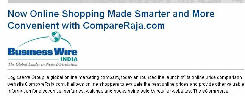 Zeenews Covers CompareRaja, The Premier Online Price Comparison Portal