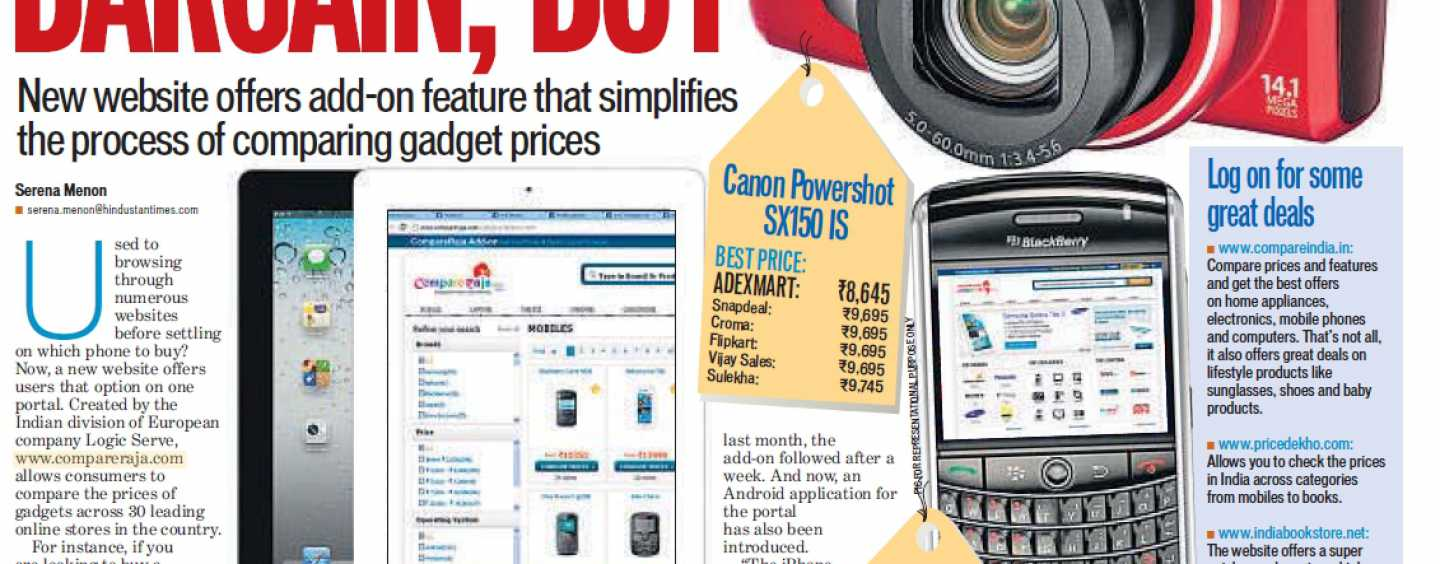 CompareRaja Covered in Hindustan Times 19-Sep-2012 Edition