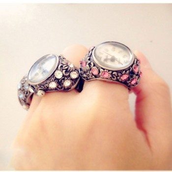 Rhinestone Trim Hollow Ring Watch