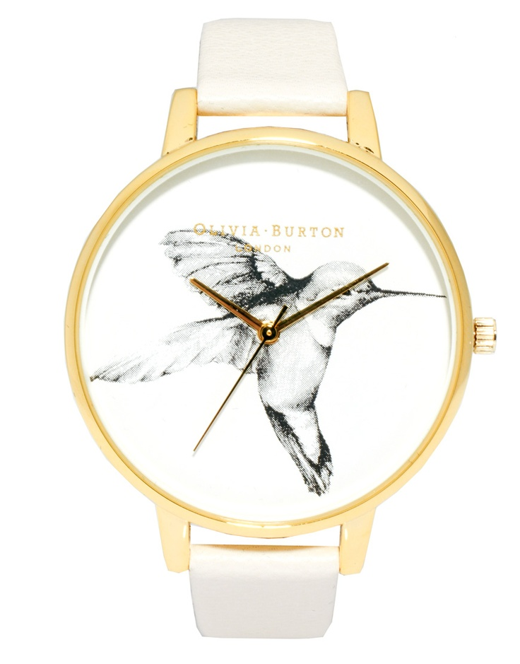 Olivia Burton Mink Leather Watch with Hummingbird Print Face