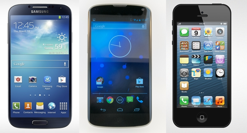 Samsung Galaxy S4, Google Nexus 4, iPhone 5