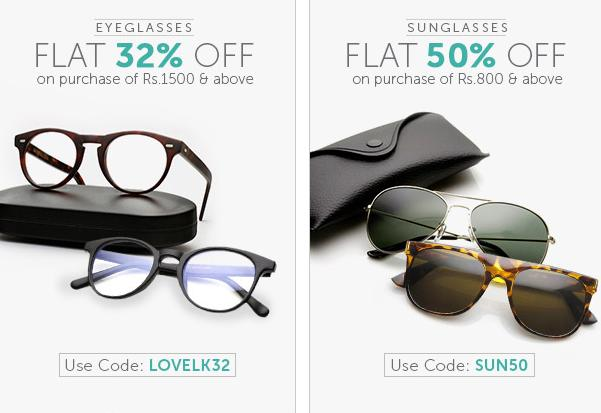 b188ab9bb4 Flat 32% off on purchase of Rs. 1500 and above – Buy a new pair of  eyeglasses and get a whopping 32% off!! Make sure you go for the latest  colours and ...