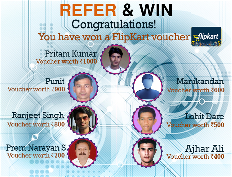 Announcing the winners for the Refer and Win contest at CompareRaja