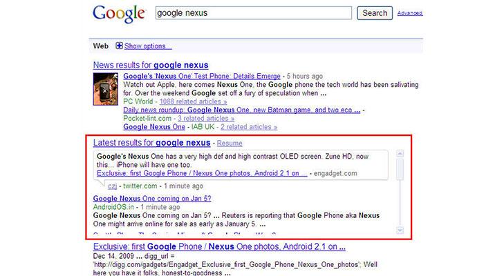 tweets google desktop search results