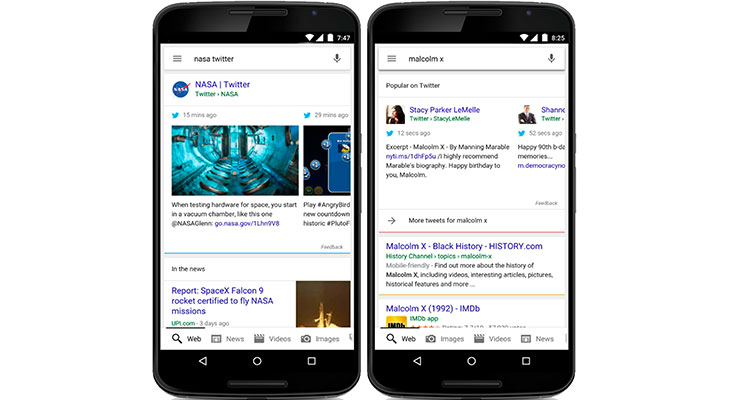 tweets google mobile search results