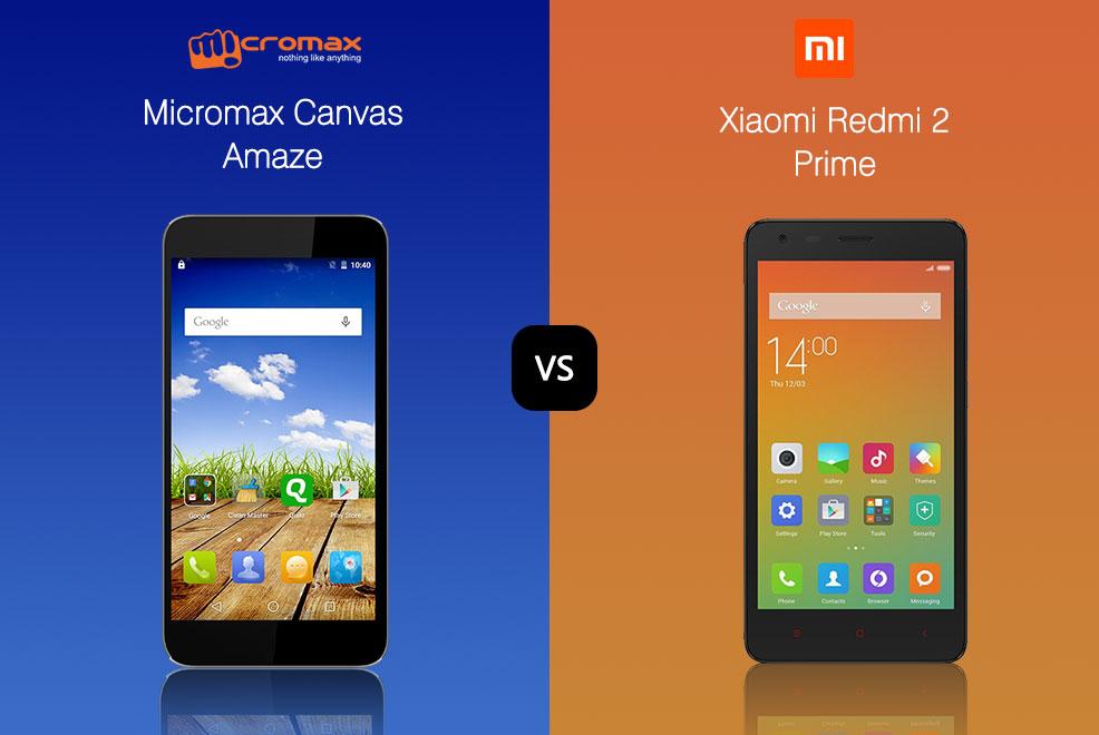 micromax canvas amaze vs redmi 2 prime