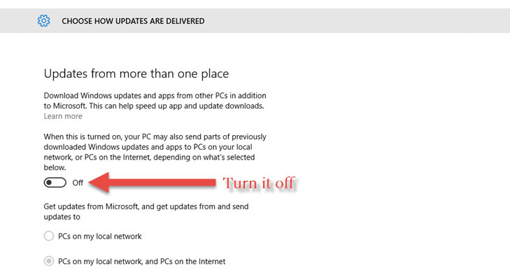 windows 10 choose how updates are delivered