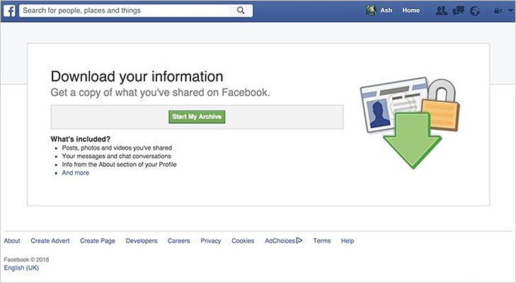 Facebook download all data information photos