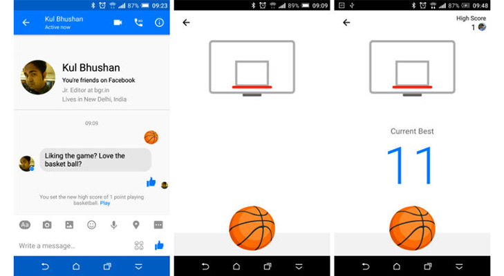 Facebook messenger hacks tricks basketball game