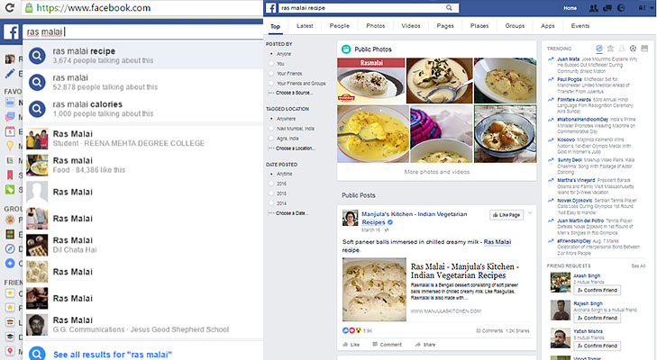 Facebook recipes search