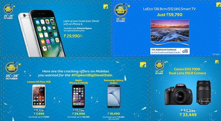 flipkart diwali sale iphone tv dslr
