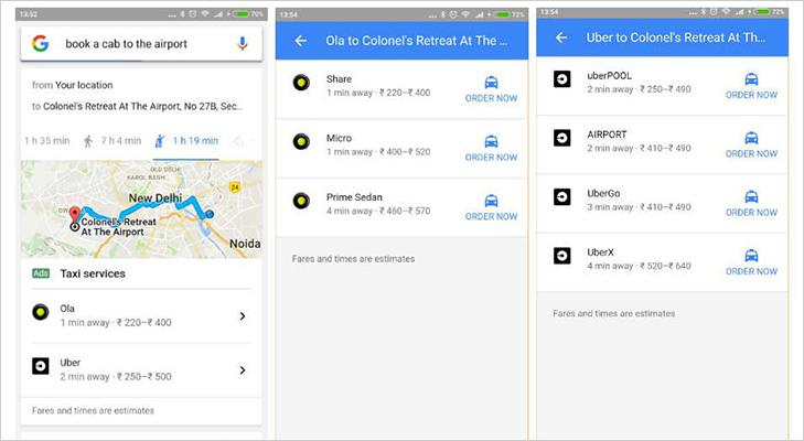 ola uber taxi booking through google search