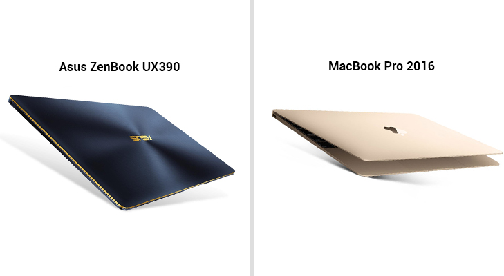asus zenbook ux390 vs- macbook pro 2016 thickness