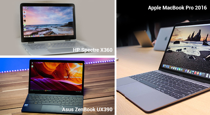 hp spectre x360 vs asus zenbook ux390 vs macbook pro 2016