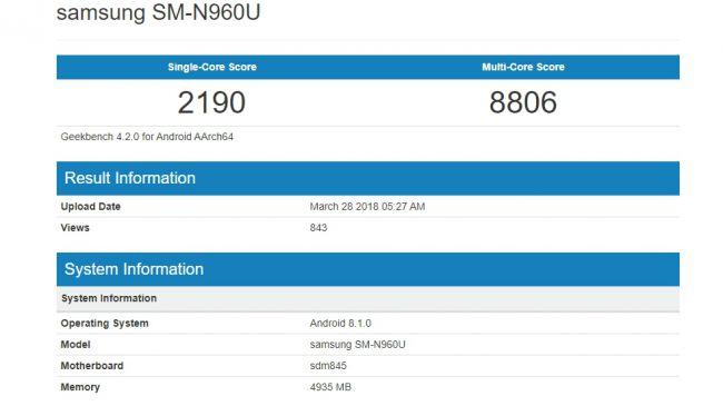 Galaxy Note 9 Geekbench-Score