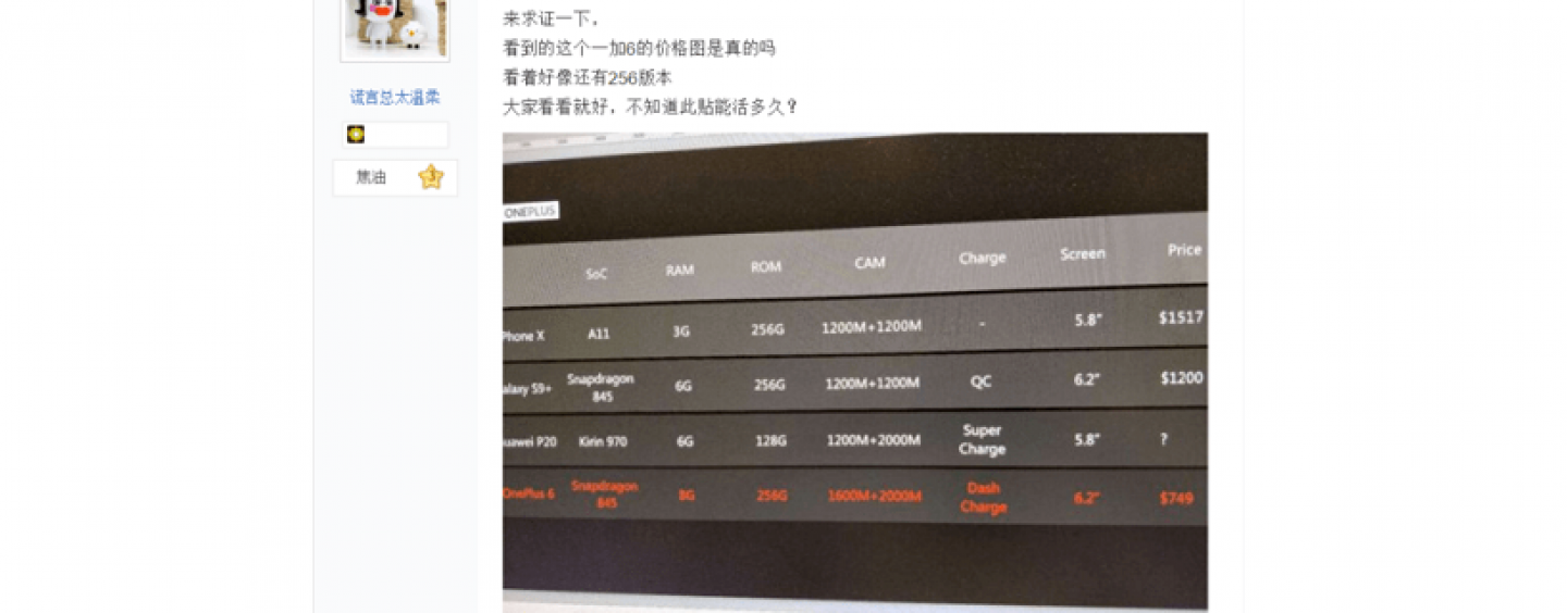 OnePlus 6 Leaked Again on Weibo: Check Price and Specifications