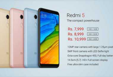 Xiaomi Redmi 5 with 2GB/3GB/4GB RAM Launched in India: Starting Price Rs. 7,999