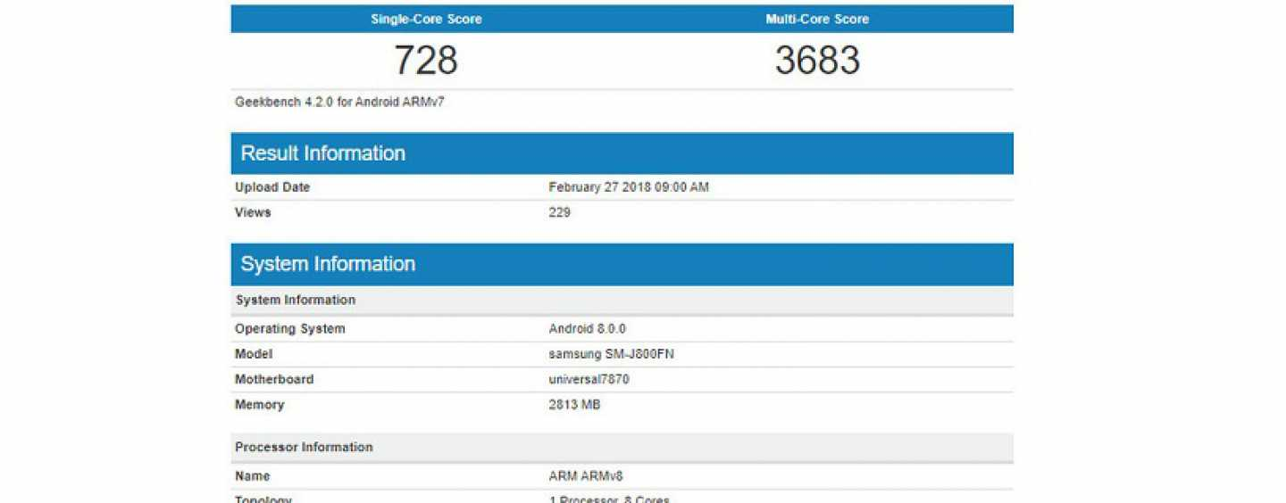 Samsung Galaxy J8 Spotted on Benchmarking Site Geekbench Ahead of its Official Launch