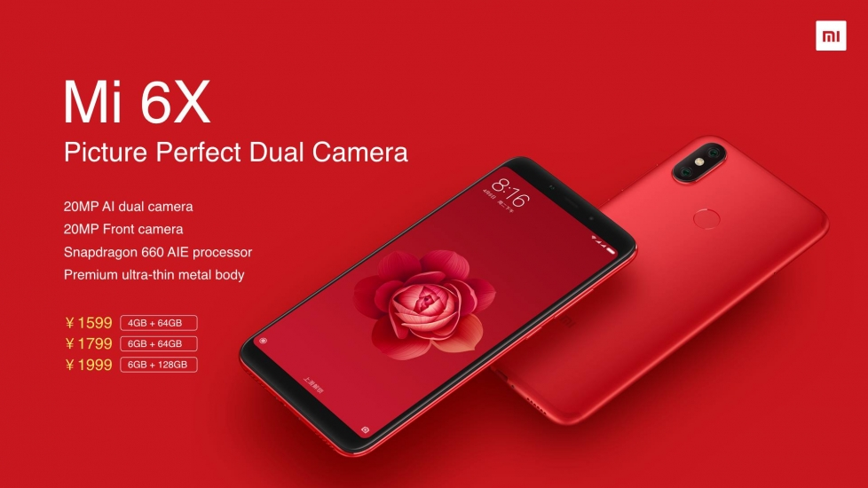 Xiaomi Mi 6X Launched in China with Snapdragon 660 and Dual