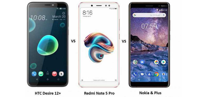 HTC Desire 12 Plus vs Redmi Note 5 Pro vs Nokia 7 Plus: Pricing and Specifications Compared