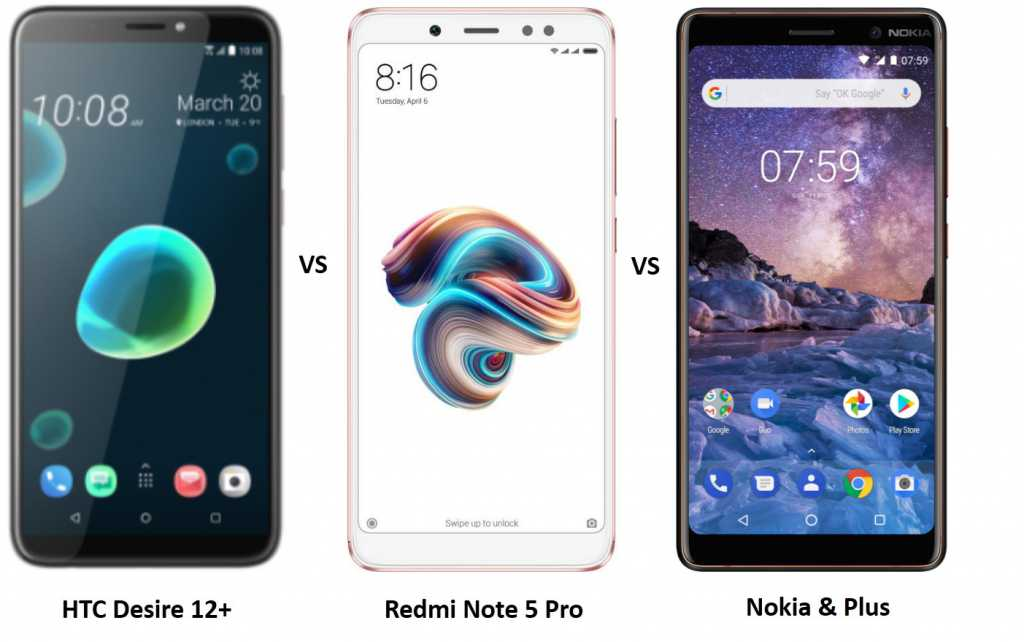 HTC Desire 12 Plus vs Redmi Note 5 Pro vs Nokia 7 Plus