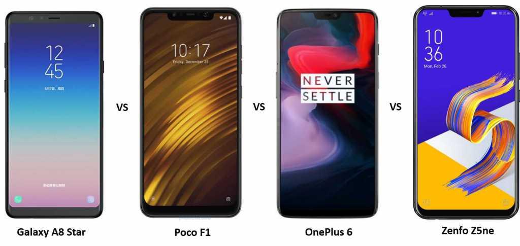 Galaxy A8 Star vs Poco F1 vs OnePlus 6 vs Asus Zenfone 5Z