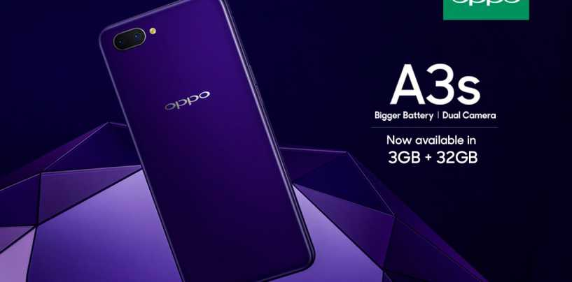 Oppo A3s 3GB RAM and 32GB Storage Variant Launched in India at Rs. 13,990