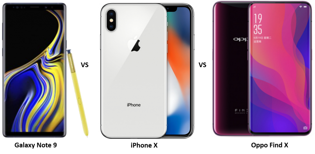 Samsung Galaxy Note 9 vs iPhone X vs Oppo Find X