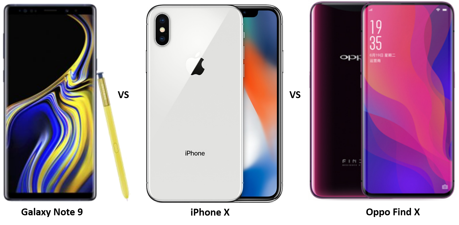 Samsung Galaxy Note 9 vs iPhone X vs Oppo Find X: The Battle of High Priced Flagships
