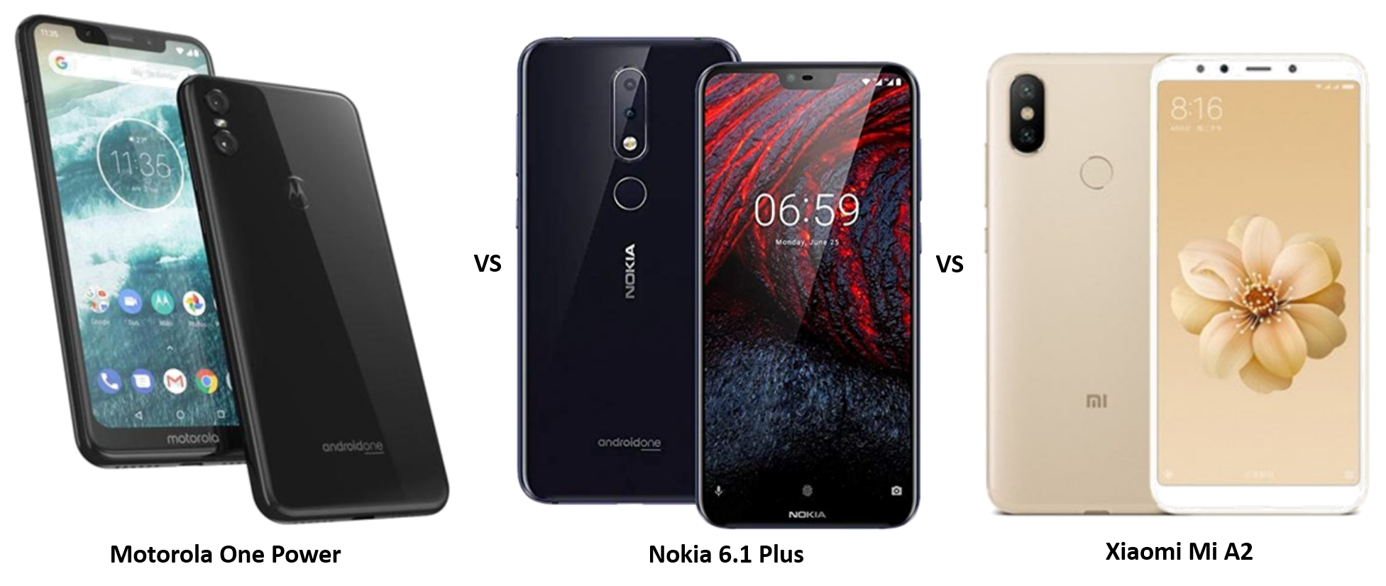 Motorola One Power vs Nokia 6.1 Plus vs Xiaomi Mi A2: The Battle of Mid-range Android One Phones