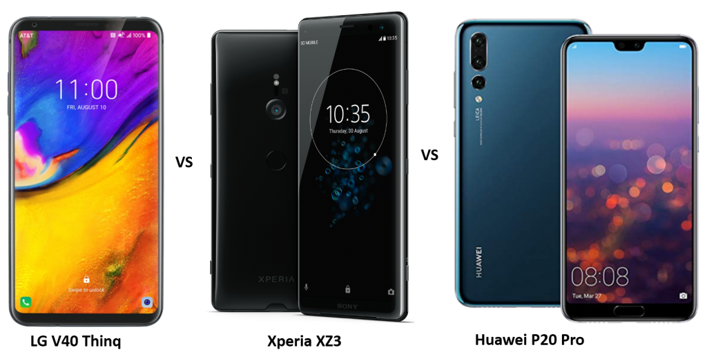 LG V40 Thinq vs Sony Xperia XZ3 vs Huawei P20 Pro