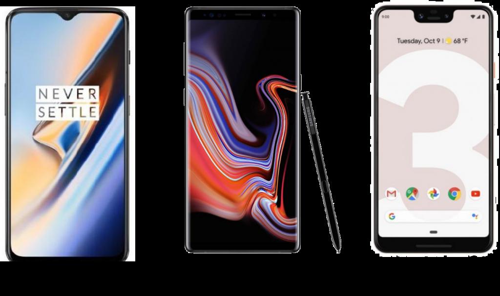OnePlus 6T vs Galaxy Note 9 vs Google Pixel 3