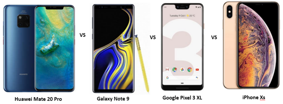 Huawei Mate 20 Pro vs Samsung Galaxy Note 9 vs Google Pixel 3 XL vs Apple iPhone XS