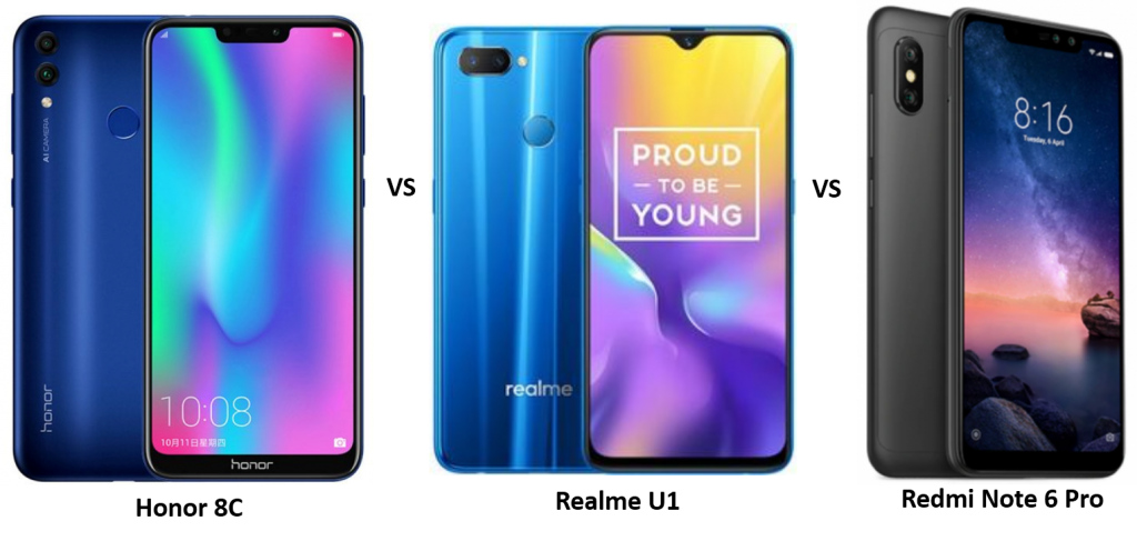 Honor 8C vs Realme U1 vs Redmi Note 6 Pro