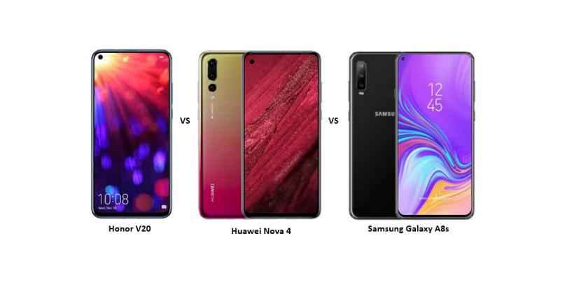 Honor V20 (aka Honor View 20) vs Huawei Nova 4 vs Samsung Galaxy A8s: Punch-hole Display Smartphones Compared