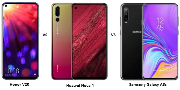 Honor V20 (Honor View 20) vs Huawei Nova 4 vs Samsung Galaxy A8s