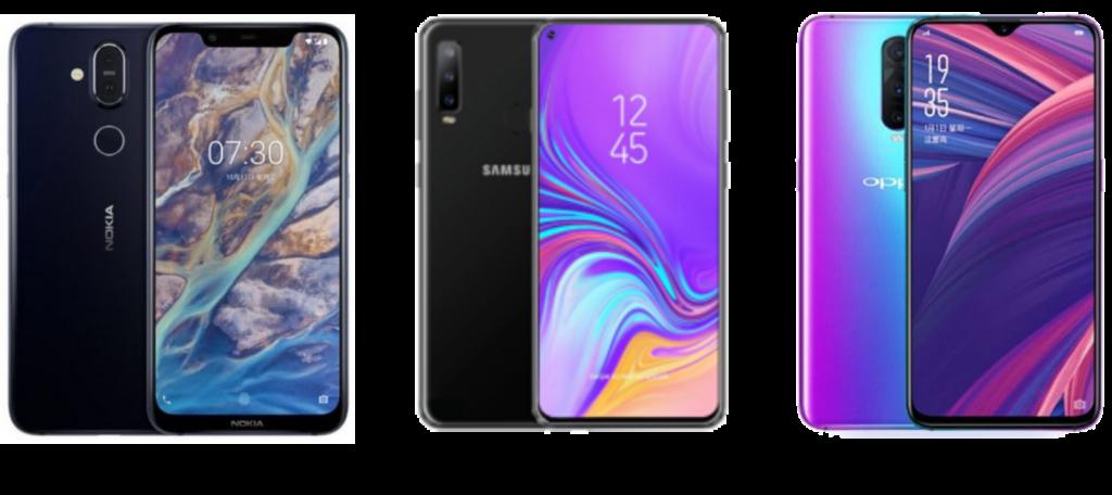 Nokia 8.1 vs Samsung Galaxy A8s vs Oppo R17 Pro