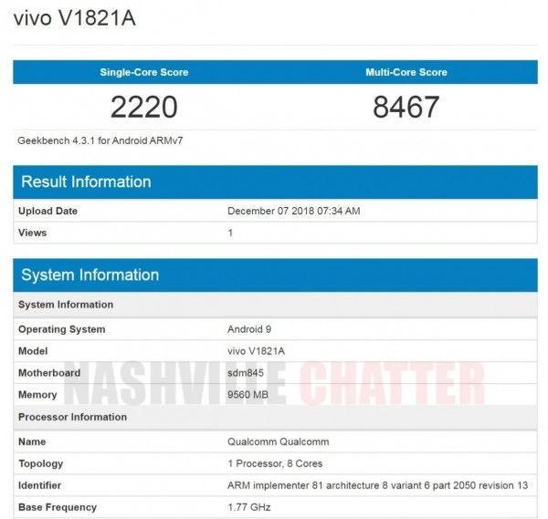 Vivo NEX 2 Geekbench Listing