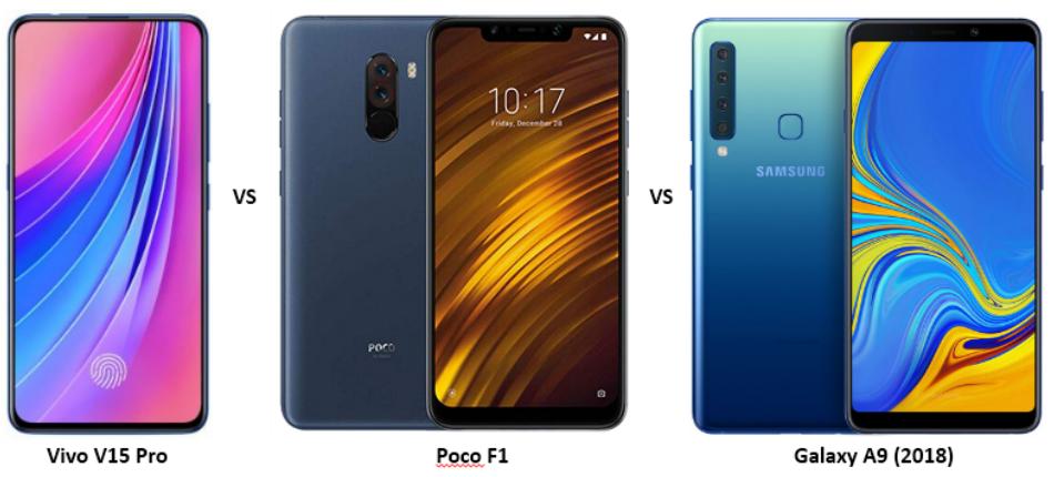 Vivo V15 Pro vs Poco F1 vs Samsung Galaxy A9 (2018)