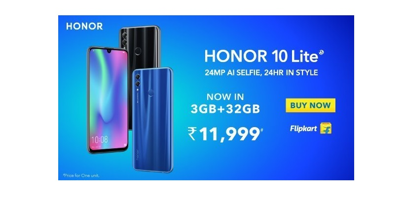 Honor 10 Lite with 3GB RAM and 32GB Storage Launched in India at Rs. 11,999
