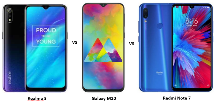 Realme 3 vs Samsung Galaxy M20 vs Redmi Note 7