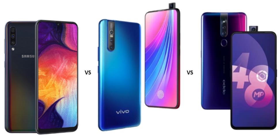 Samsung Galaxy A50 vs Vivo V15 Pro vs Oppo F11 Pro