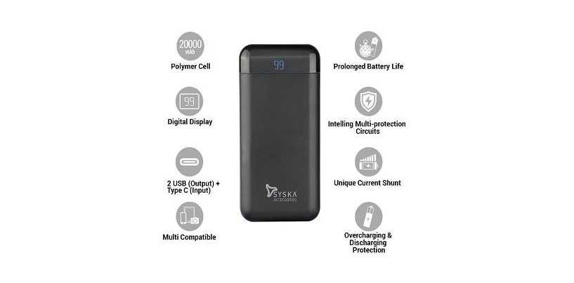 Syska Power Vault 200 Power Bank Equipped With 20,000mAh Battery Launched For Rs 1,299