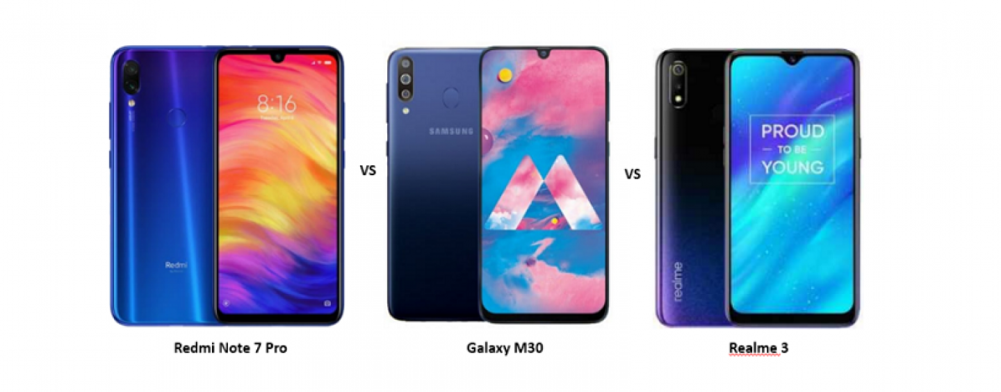 Xiaomi Redmi Note 7 Pro vs Samsung Galaxy M30 vs Realme 3: Price, Design and Specifications Compared