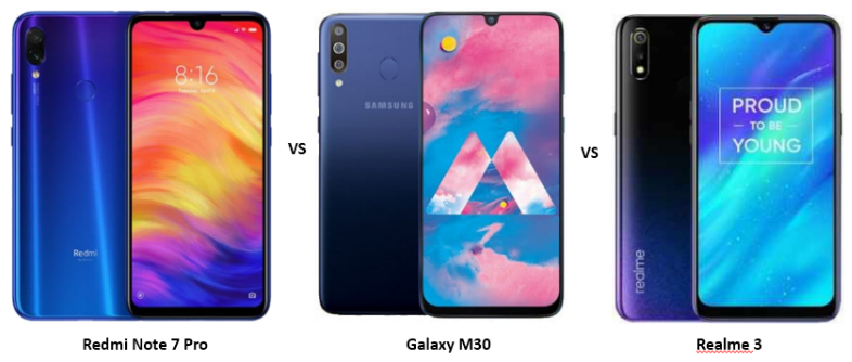 Xiaomi Redmi Note 7 Pro vs Samsung Galaxy M30 vs Realme 3