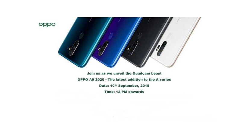 OPPO A9 2020 Scheduled For September 10th India Launch At A Price Tag Of Around Rs 21,000